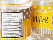 Baby shower water bottle wraps with baby facts