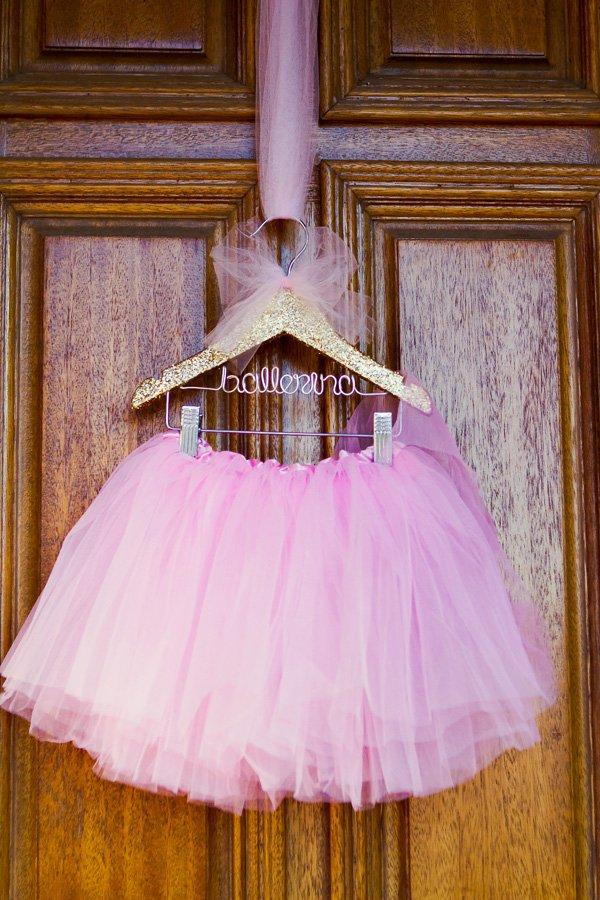 "Pink tutu on a gold glittery ""ballerina"" hanger"