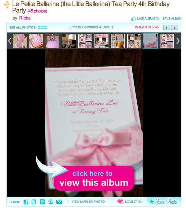 ballerina tea party invitation