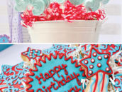 Red white & Blue birthday cookies