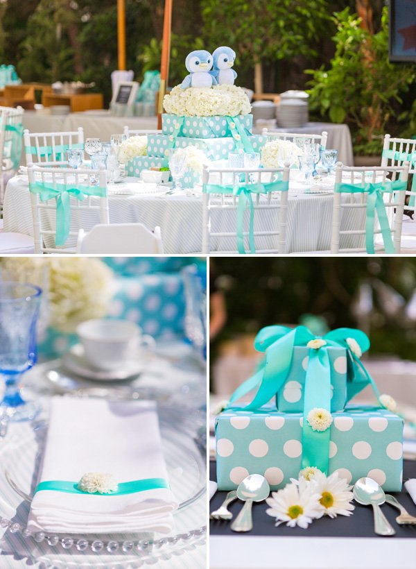 Blue & white polka dot tablescape