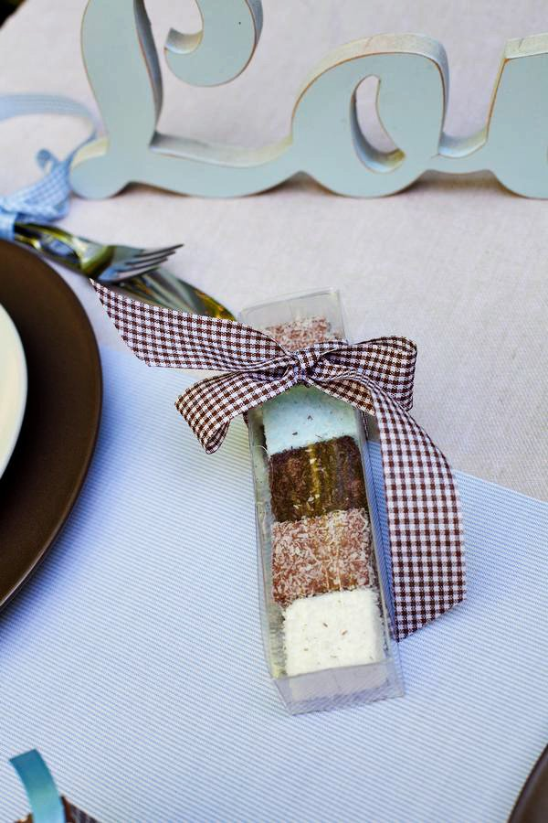 Baby Shower Dessert Favors with Brown Gingham Bow