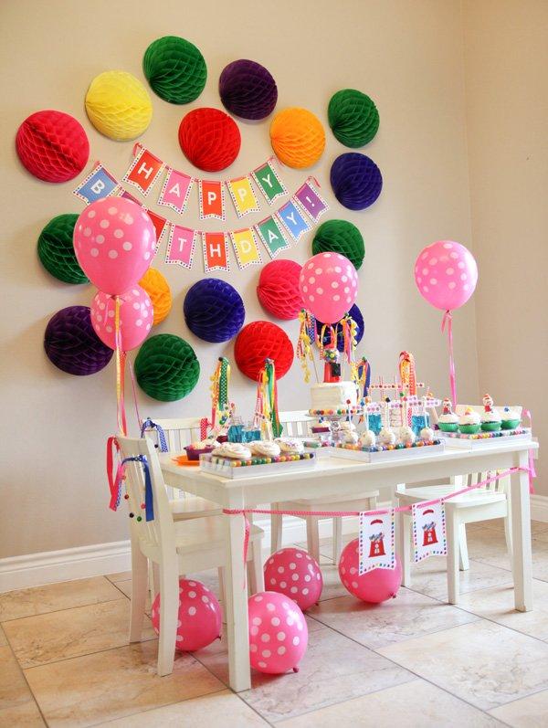 Rainbow Polka Dot Gumball Birthday