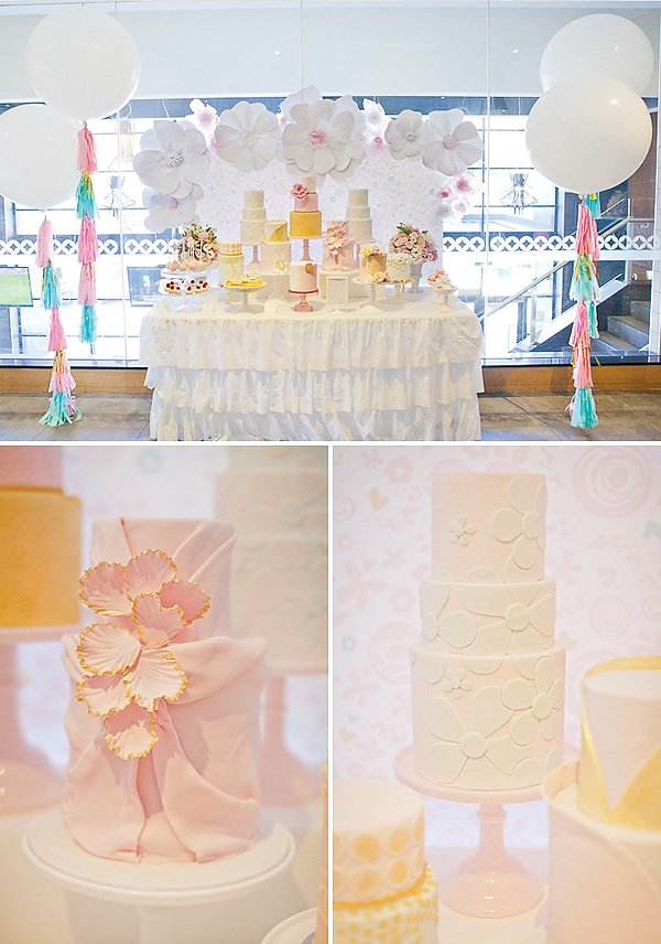 Pink and yellow dessert table