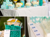 Aqua and yellow candy buffet