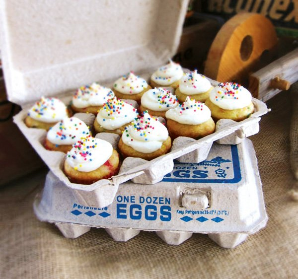 Cupcakes in Egg Carton Display