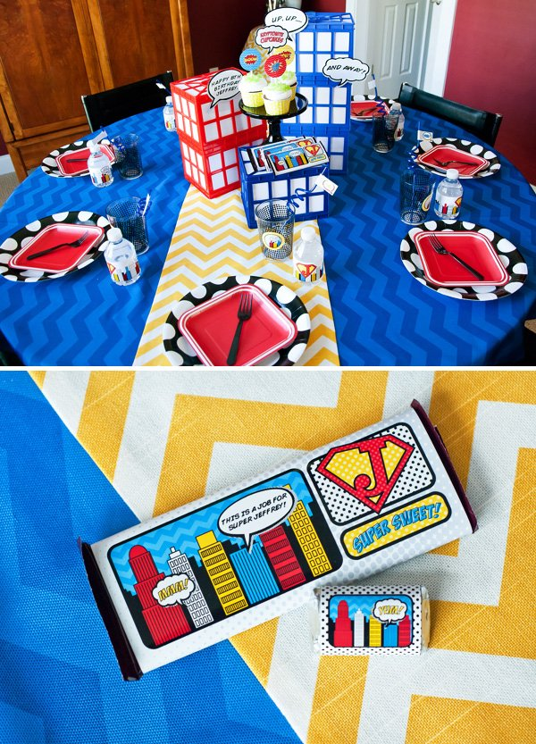 chocolate bars for a super hero party