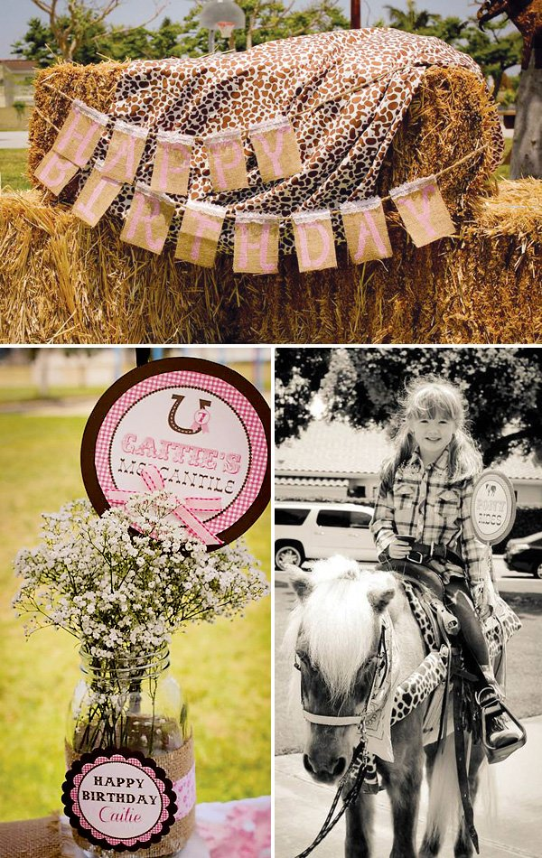 cowgirl birthday hay photo booth