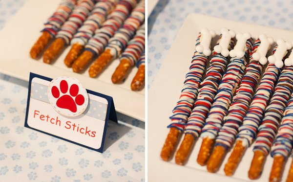 "Pretzel ""Fetch Sticks"" for a Puppy Party Snack"