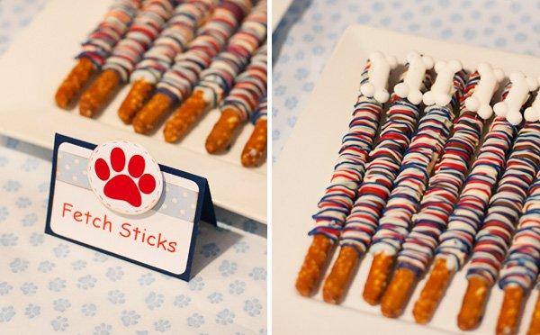 "Pretzel ""Fetch Sticks"" for a Puppy Party Snack"