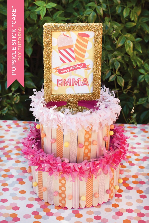 popsicle stick craft party centerpiece - washi tape popsicle cake