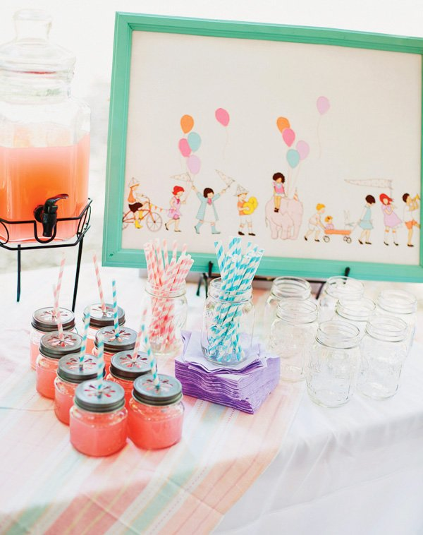 Whimsical pink and mint drink station