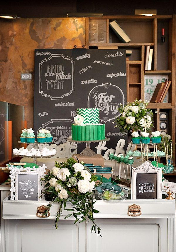 Emerald and White Wedding Dessert Table