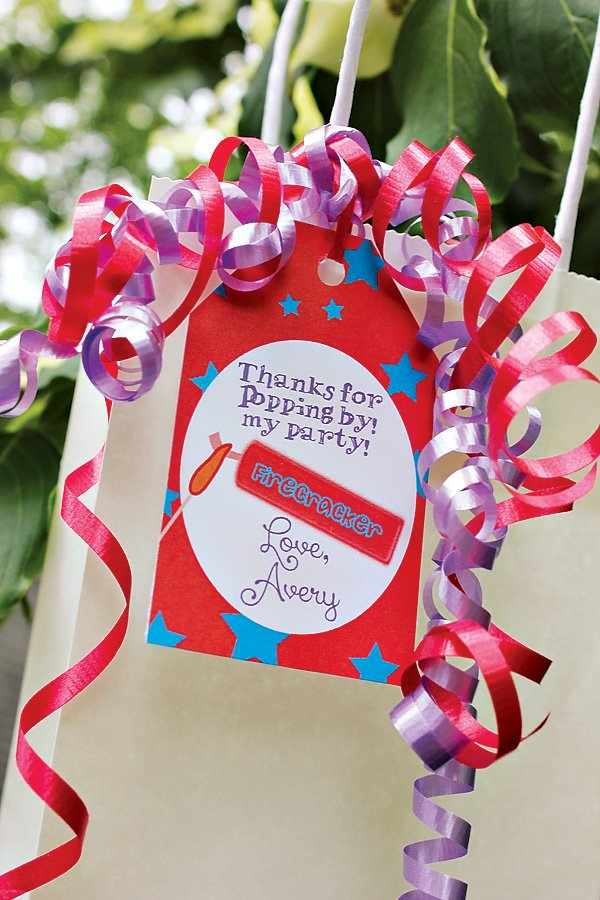Firecracker birthday party favors
