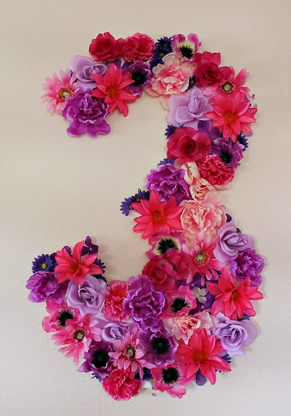 "Floral Birthday ""3"" Sign"