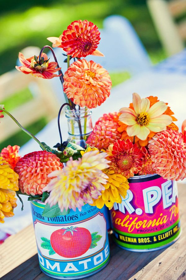 Vintage Can Centerpieces