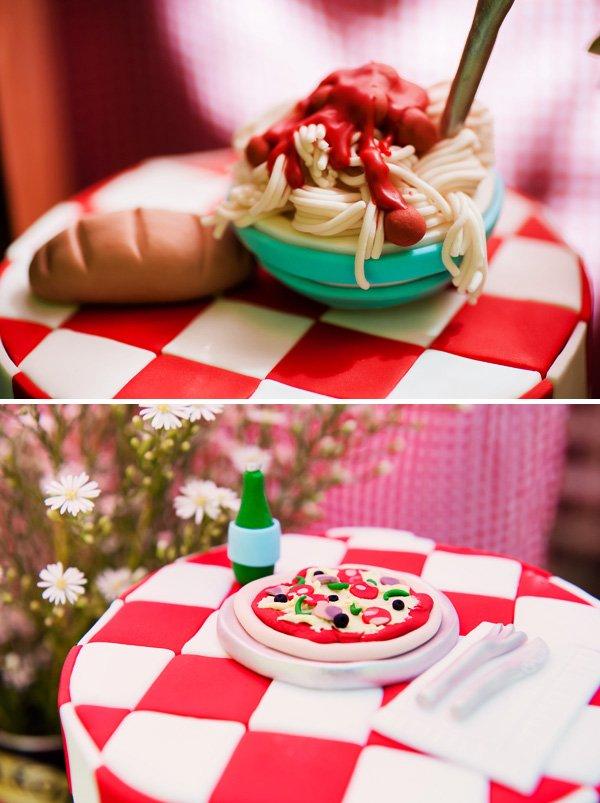 Fondant spaghetti & pizza cake toppers