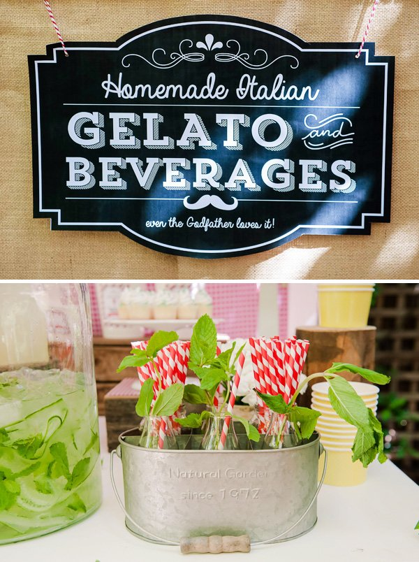 Gelato and Beverages Party Station Sign