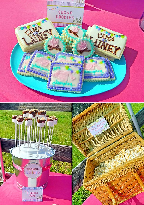 glamping party cookies