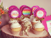 Sparkly rainbow cupcake toppers