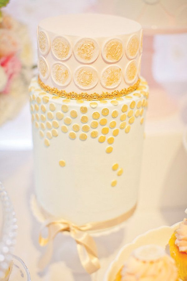 Pink and gold polka dot birthday cake