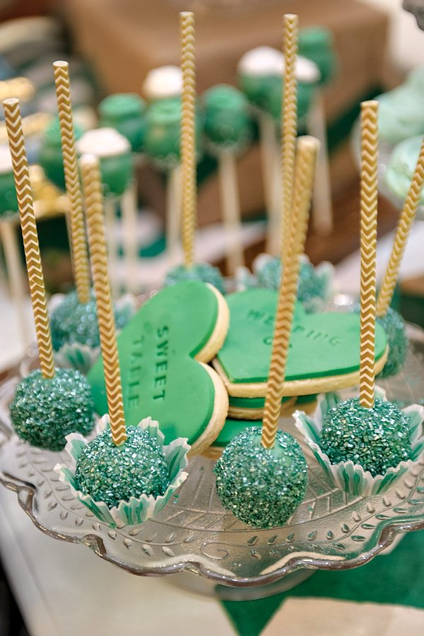 Gold Chevron Straws on Sparkly Emerald Cake Pops
