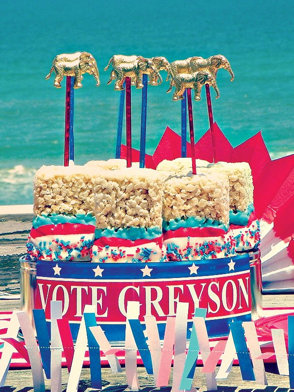 Red White & Blue Rice Krispie Treat Pops with gold elephant toppers