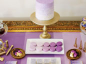 Gold & ombre purple dessert table