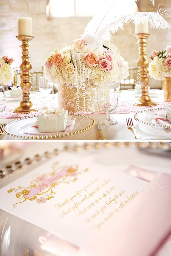 Elegant gold and pink tablescape