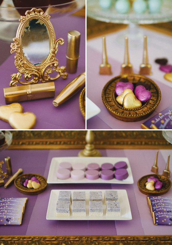 Purple and gold spa party ideas
