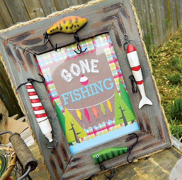 Gone Fishing Birthday Sign with Fishing Lures