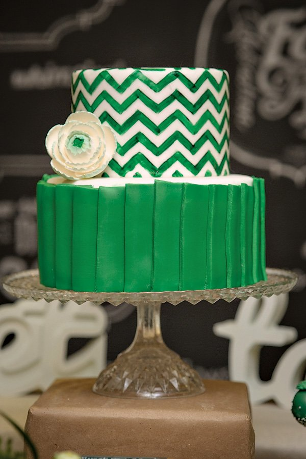 Green Chevron Cake
