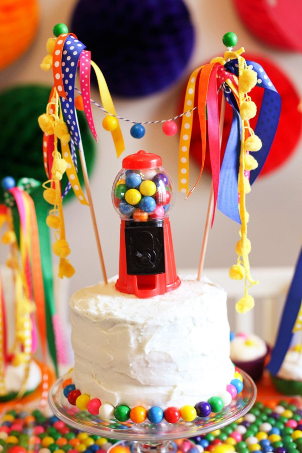 Rainbow Gumball Birthday Cake