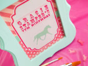 Pink and Teal Horse Party Sign