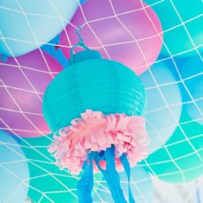 Fish net filled balloons