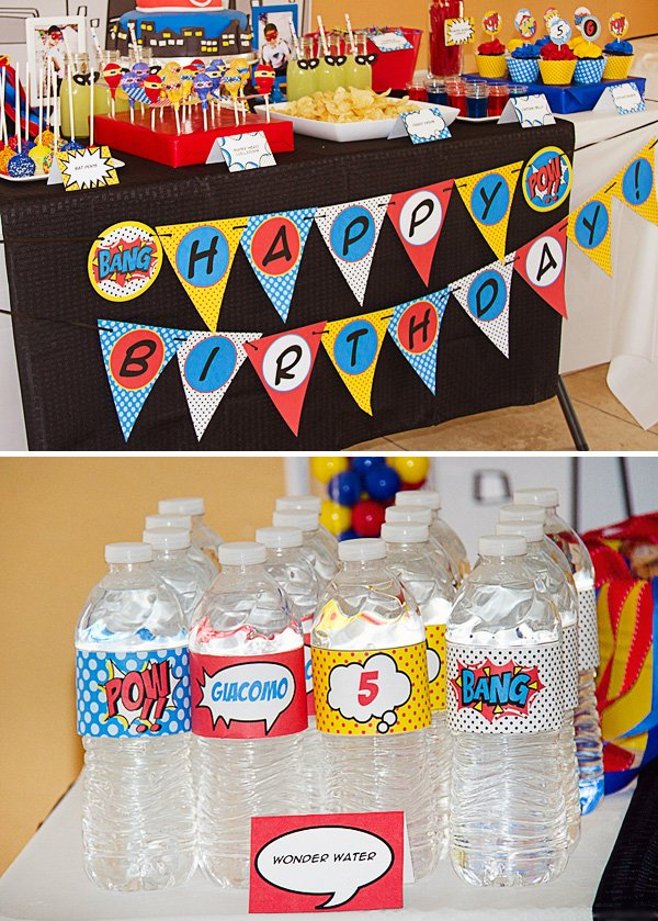 kids super hero party dessert table