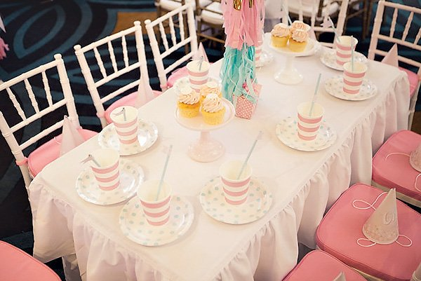 Pretty pink and blue kids table