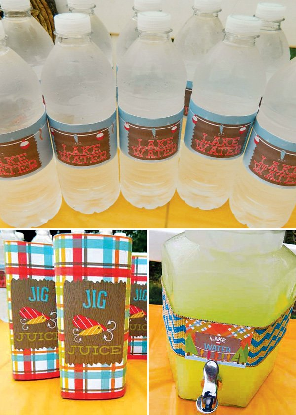 """Lake Water"" Fishing Party Bottle Wraps"