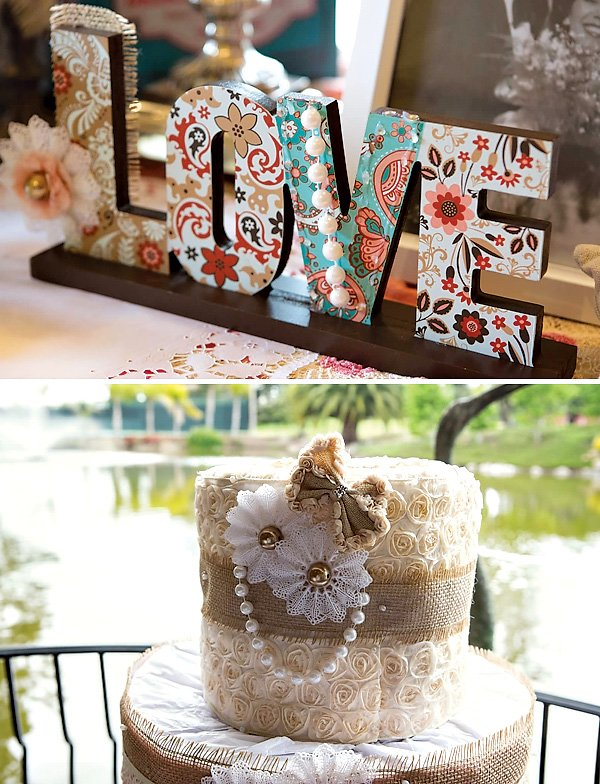 Beautiful burlap, lace, and paper cake