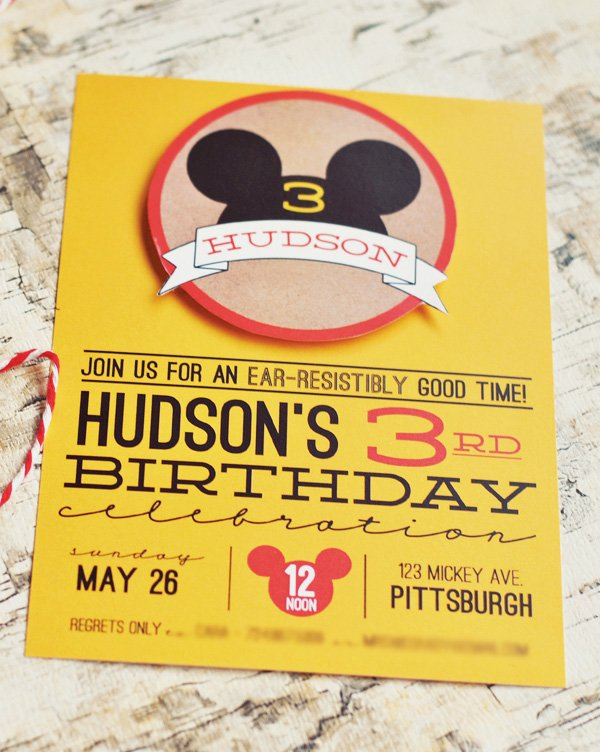 Mickey Mouse Theme Invitation