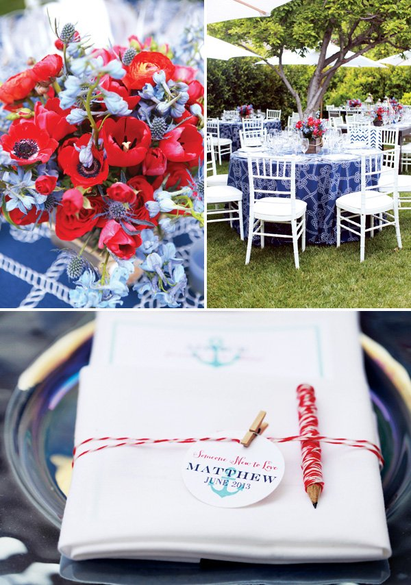 Blue and red nautical baby shower