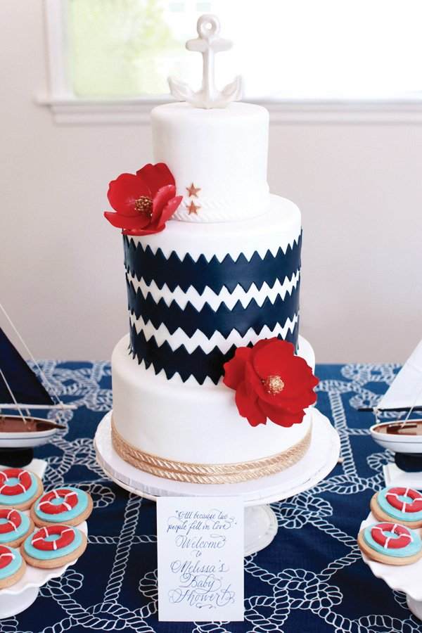 Nautical Inspired Chevron Cake