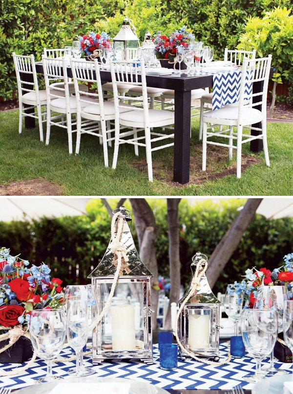 Blue and Red Chevron Tablescape