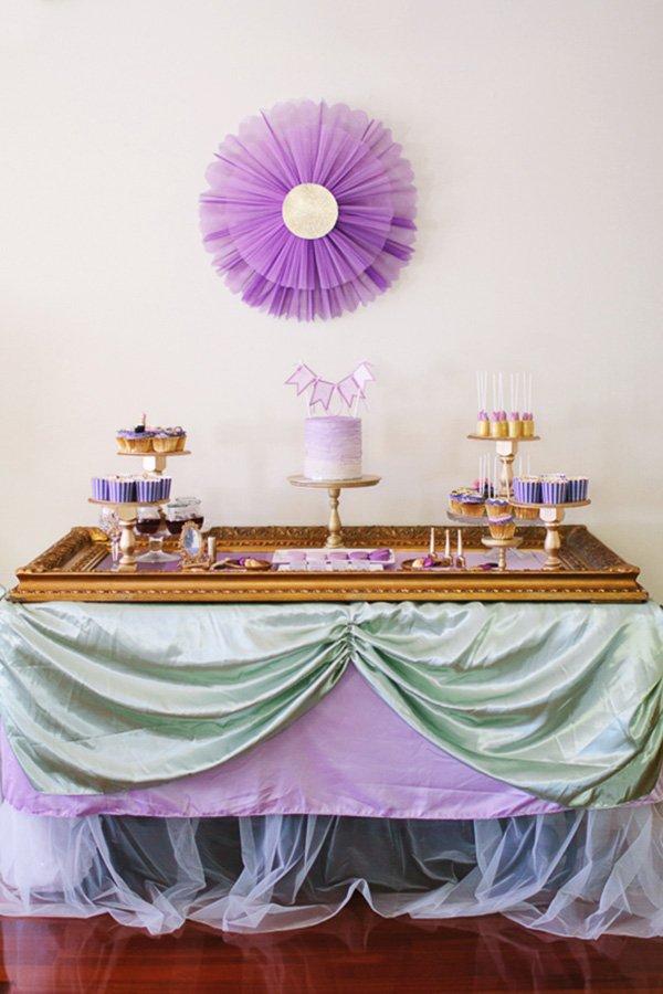 Ombre purple & gold dessert table