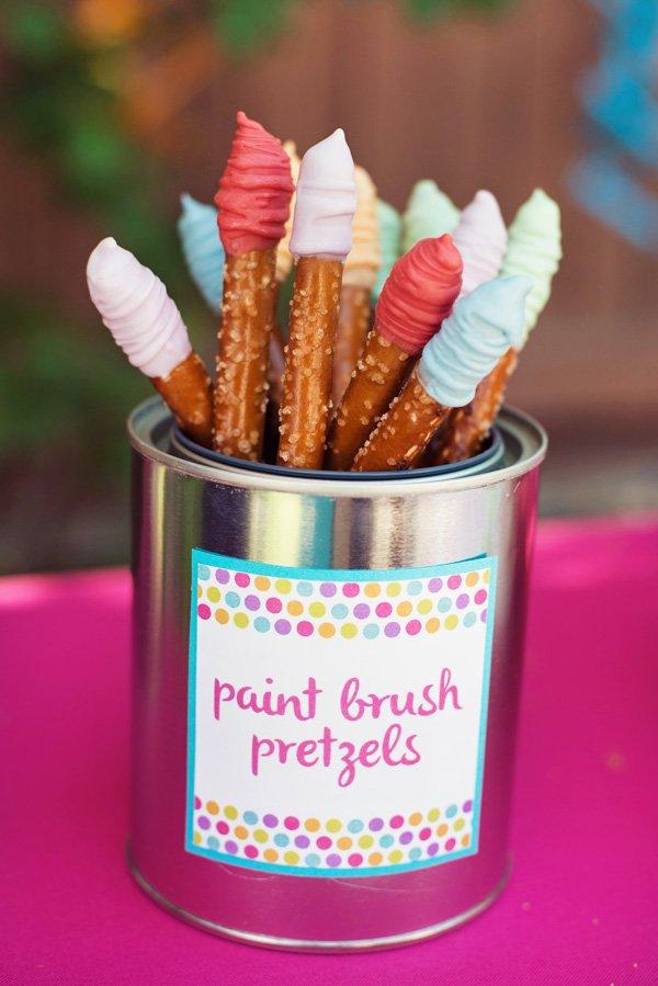 Paint brush pretzel sticks