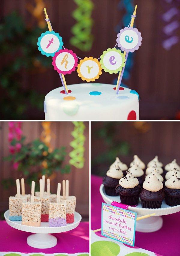 Rainbow paint party desserts