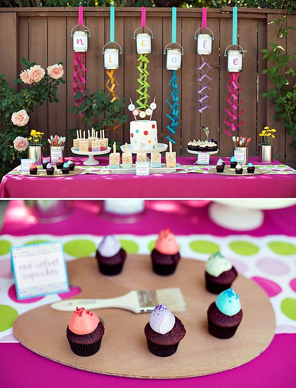 Paint themed birthday party dessert table