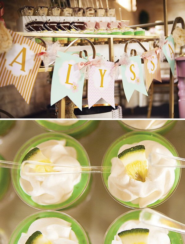 Mini parfait cart with baby name banner