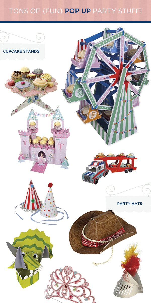 party hats and cupcake stands