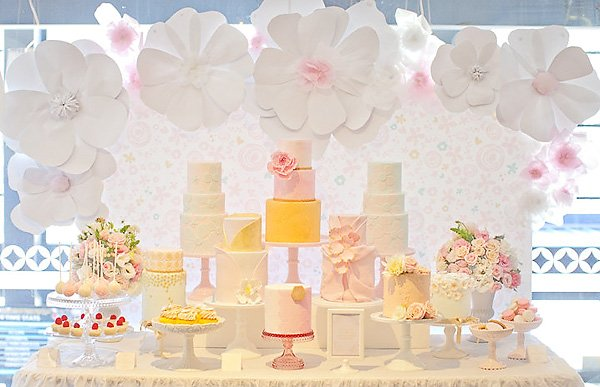 Gorgeous pink and yellow pastel dessert table